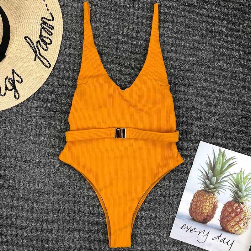 Одноцветный купальный костюм с бретельками, модель 2020 года, сексуальный купальник для женщин, с поясом, с высокой посадкой, пляжная одежда, u-... 33