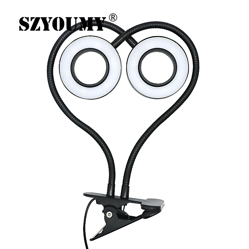 SZYOUMY LED Plants Grow Double Heads Light Flexible Desk Clip Lamp Vegetables Fruits Flowers Spotlight For Hydroponics Garden