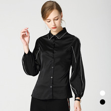 New 2018 aurumn lapel puff sleeve black Shirts women Chic long loose Blouses Tops D344