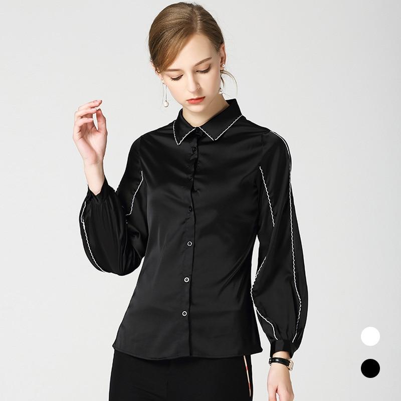 Nouveau 2018 aurumn revers manches bouffantes chemises noires femmes Chic à manches longues lâche Blouses hauts D344