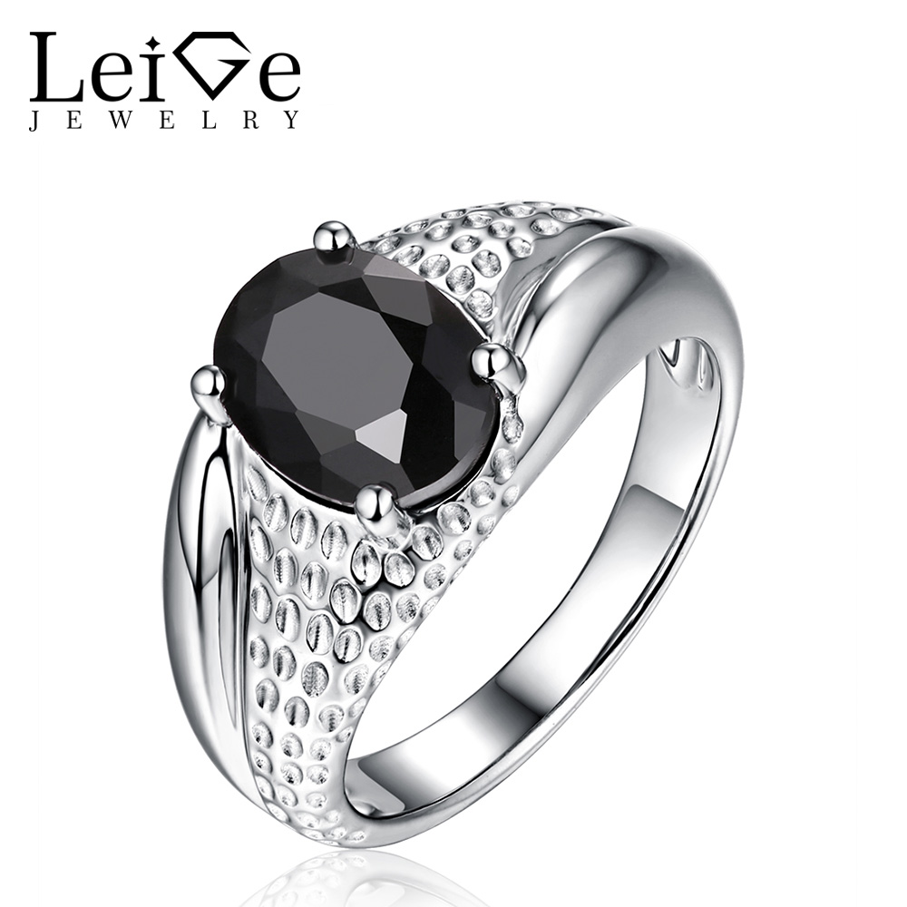 Leige Jewelry Natural Black Spinell Ring Solitaire Edelstein Oval Cut - Edlen Schmuck - Foto 1