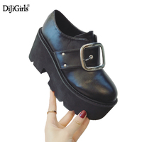 Dijigirls Womens Platform Shoes Creepers Square Buckle Lace Up Harajuku Platform Round Toe Casual Women S