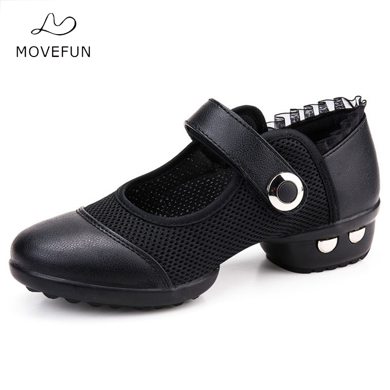 MOVEFUN Brand Mesh Black Red Dance Sko Sneakers Women Adults Pustende Jazz Latin Ballroom Sko til dans Zapatillas-24
