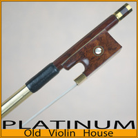Gold Pernambuco Violin Bow with Snakewood Frog (4/4),Free shipping! Good balance of strength and flexibility.