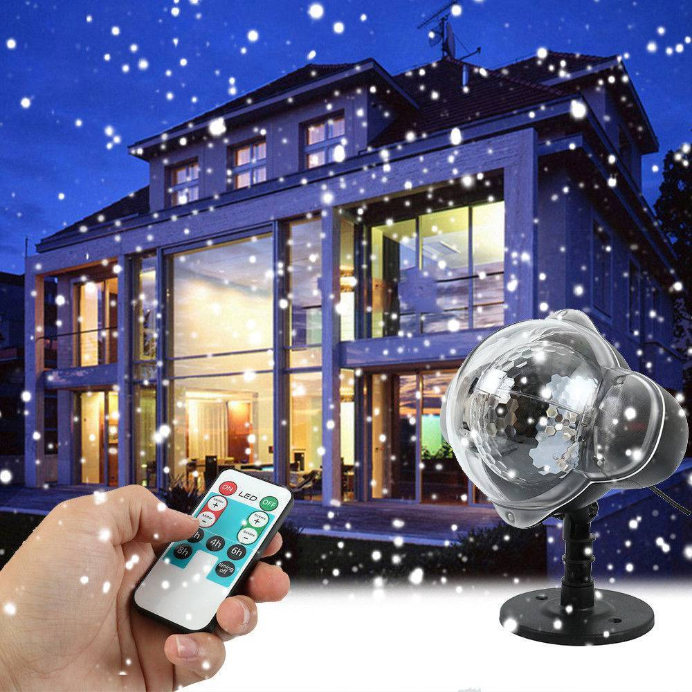 Waterproof Moving Snow Laser Projector Lamps Snowflake LED Stage Light For Christmas New year Party Light Garden Lamp UK Plug недорого