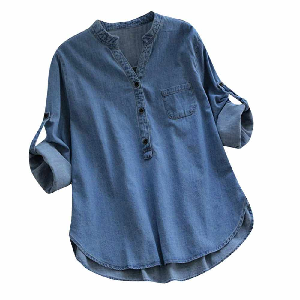 402f2b37bb Denim Shirt Female Patchwork Lapel Collar Long Sleeve Asymmetrical Blouse  Tops Buttun Fashion Casual new Clothing