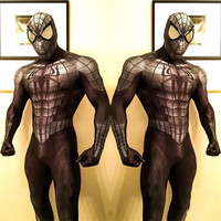 High Quality Adult Mens Halloween Black Spiderman Cosplay Costumes Venom Lycra Zentai Hero Spidey Suit Halloween costume