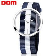 Las Mujeres del reloj de Moda de lujo DOM marca Unique Stylish Hollow skeleton relojes de cuarzo Ocasional de Nylon del deporte de pulsera de Señora 205