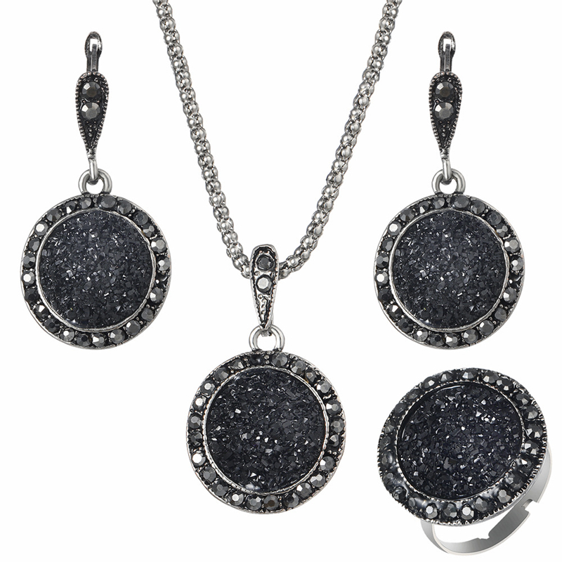 Wholesale Vintage Black Gem Jewelry Set Fashion Women Jewelry Set Antique Silver Crystal Round Stone Pendant Necklace Sets 3pc