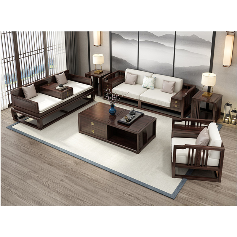 US $3892.58 |design living room set Wood furniture coffe table love seat  divano futon sofas mesa centro Modern Chinese wooden sofa Arhat bed-in  Living ...
