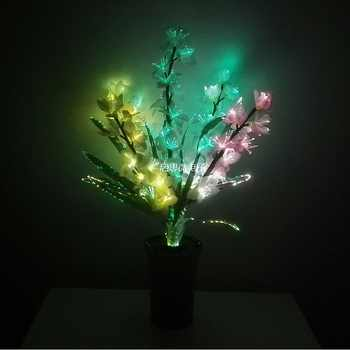 New Style LED Colorful transformation Artificial flower Wedding decoration Novelty optical fiber flower Christmas New Year party