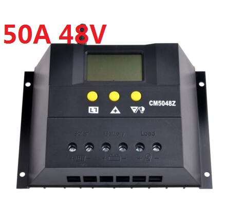CM5048Z 50A 48V Solar Charge Controller PWM Charger Battery Panel Regulator 2400W With LCD Display 20a pwm duo battery solar panel charge controller regulator 12v 24vdc with remote meter mt1 control solar charger