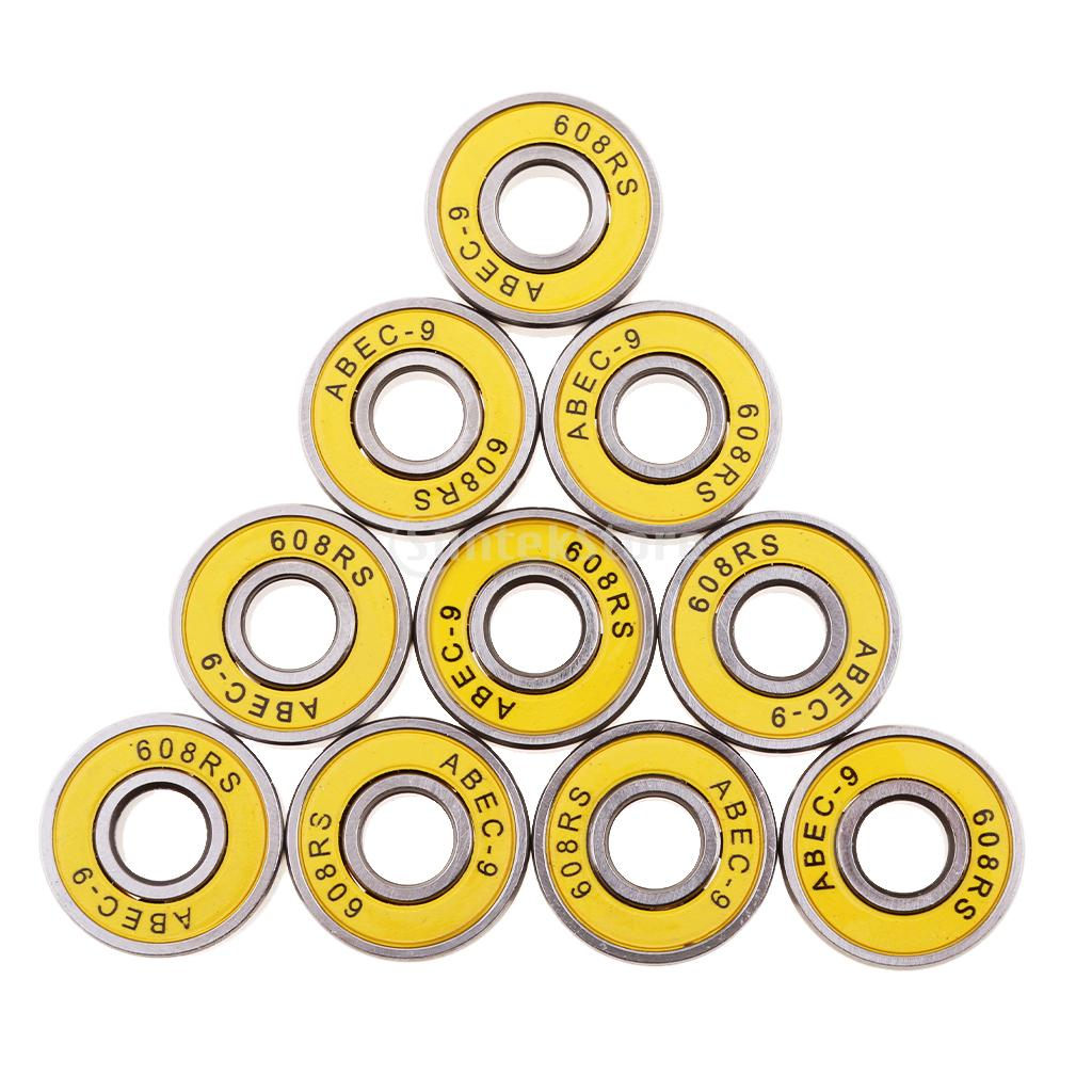 10 Pieces Premium ABEC-9 608RS Inline Roller Skate Wheel Bearings Scooter Skateboard Longboard Seal Ball Bearings Yellow