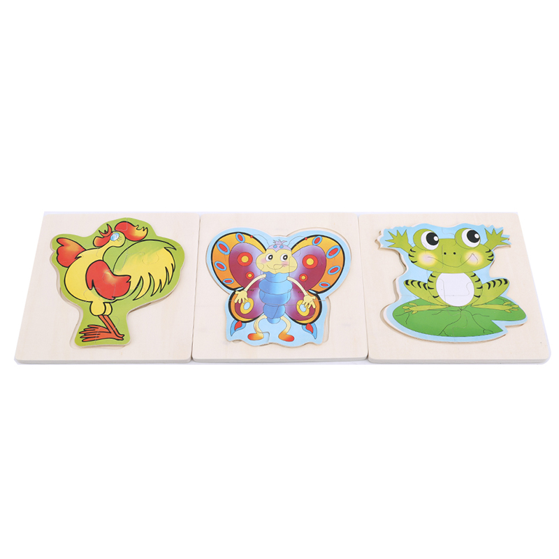 Cartoon Animal Frog Butterfly Jigsaw Puzzles Popular Toy Cognition 3D Puzzle Games Toys For Children
