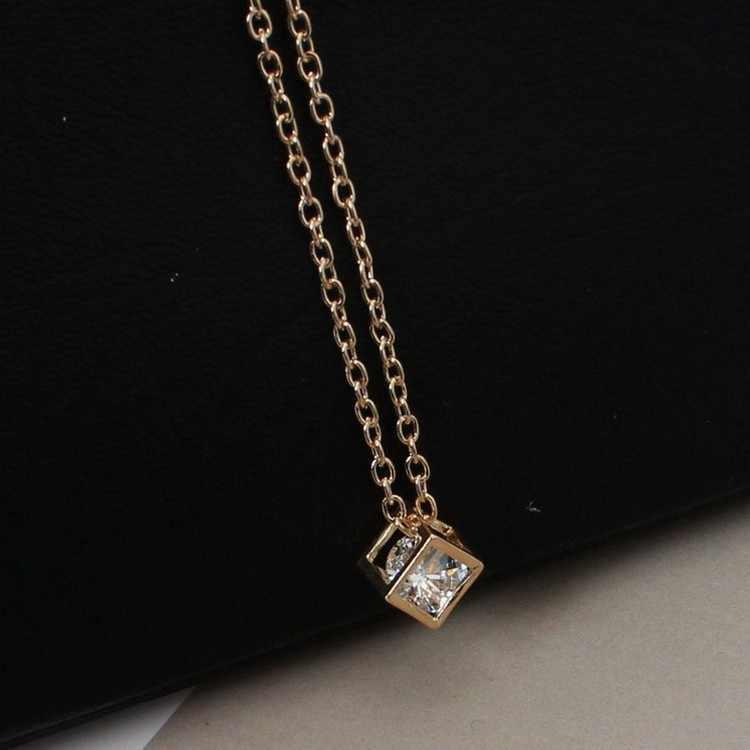 Fashionable Love Cube Three-dimensional Necklace Shiny Charm Rhinestones Small Box Short Clavicle Chain Maxi Necklace & Pendants
