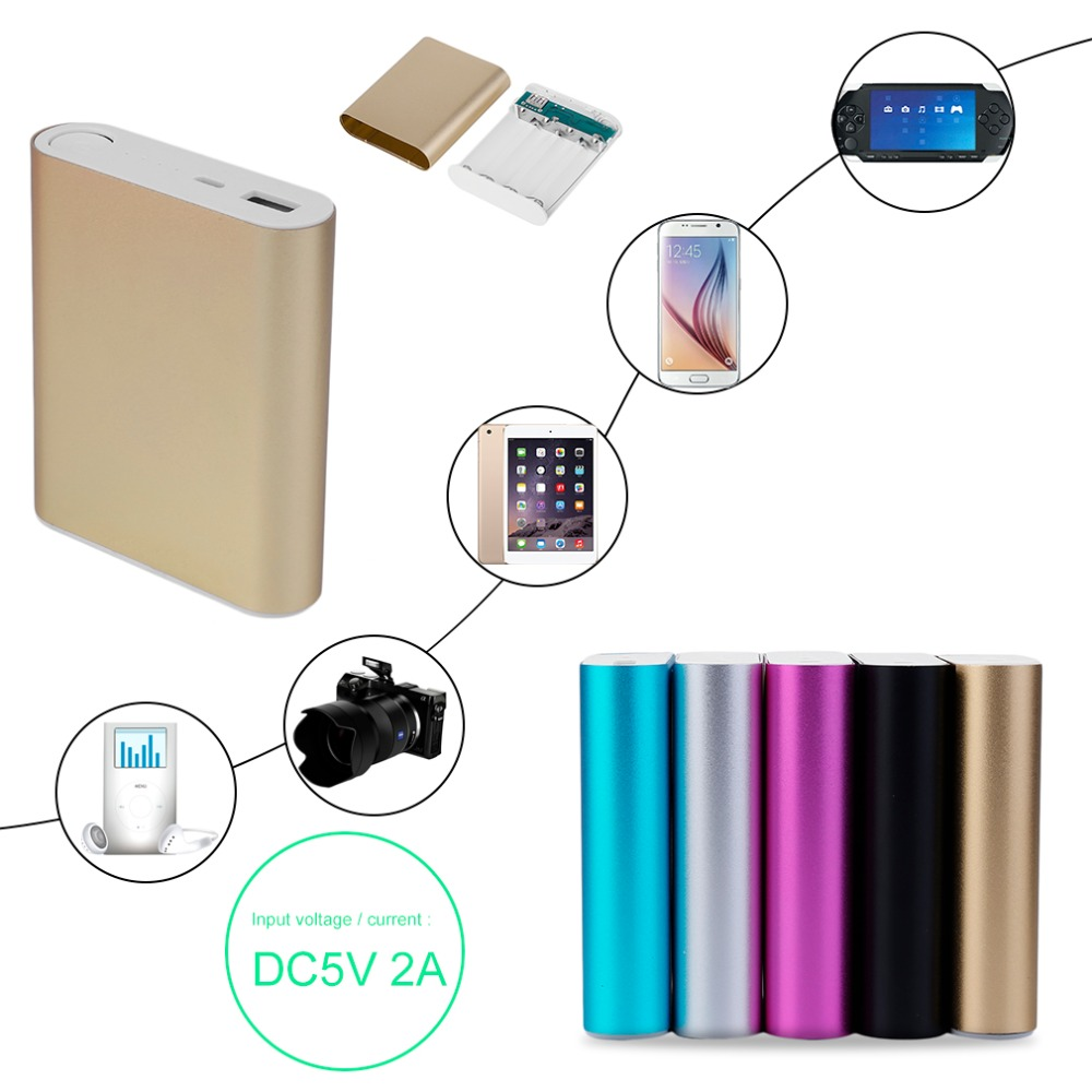 10400mAh DIY Power Bank <font><b>4</b></font>*<font><b>18650</b></font> Battery Box Case Kit Universal USB External Backup Battery Charger <font><b>Powerbank</b></font> For All Cell Phones image