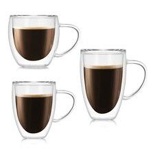 250 350 450ml glass Coffee mug Heat-resistant double transparent tea Milk Lemon Juice drinking cup handle Drinkware