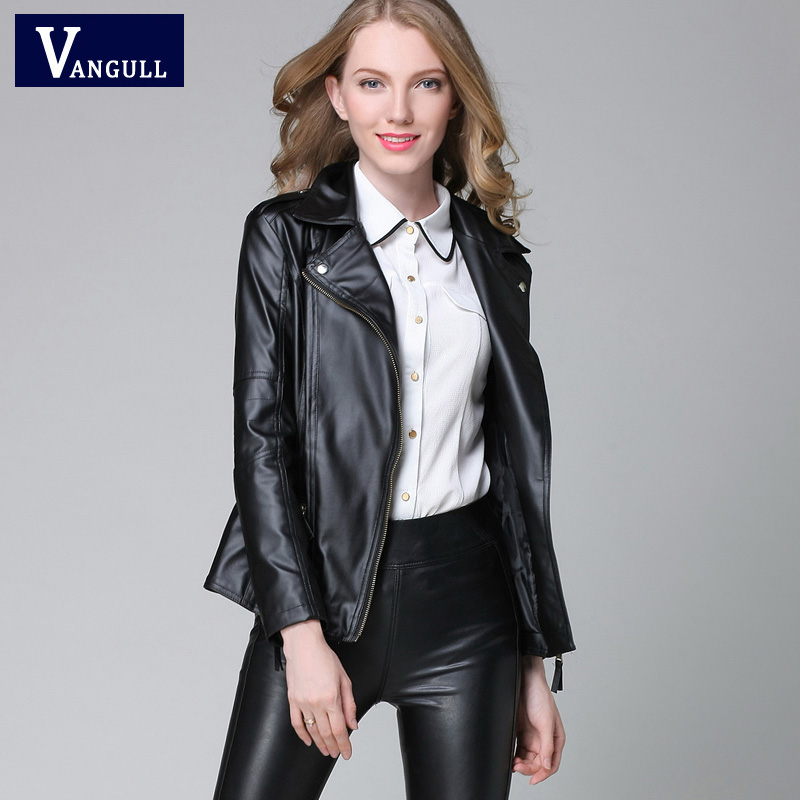 2016 New Elegant Autumn Winter Leather Jacket Women s Short Black RED PU Leather Coat Ladies