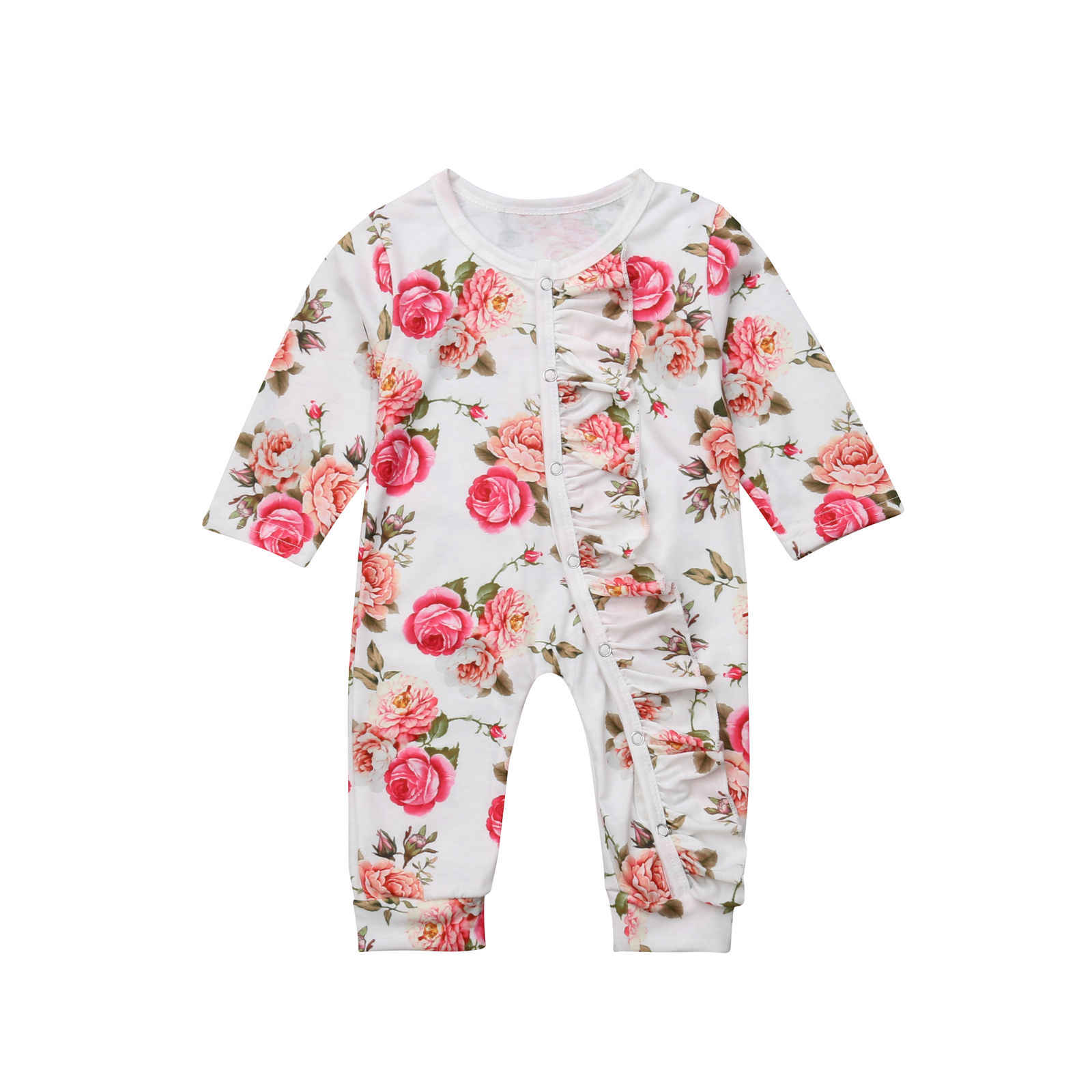 94807e09db9 ... Newborn Baby Girl Floral Romper Fashion New Long Sleeve Button Party  Jumpsuit Holiday Girls Casual Cotton ...