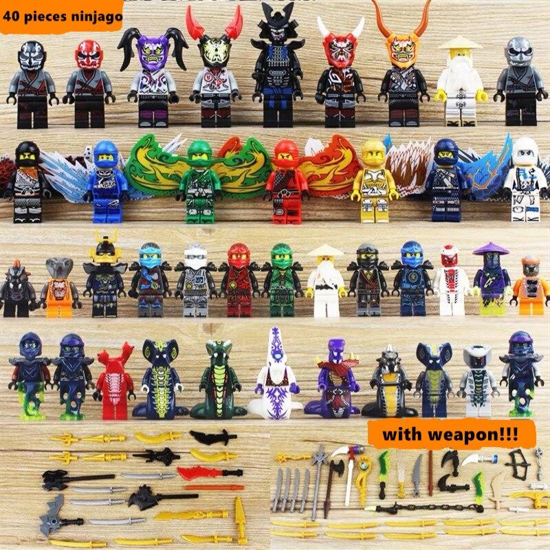 40 piezas Ninjago LegoING juego de figuras bloques de construcción serpiente Ninja LIoyd Garmadon legión Skales Pythor Fangdam Acidicus juguete chico