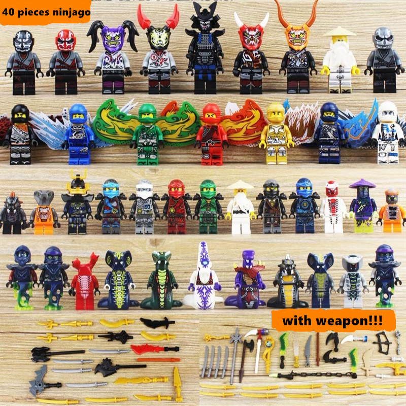 40pcs Ninjago LegoING Figure Set Building Blocks Ninja Snake LIoyd Garmadon Legion Skales Pythor Fangdam Acidicus Toy For Kid