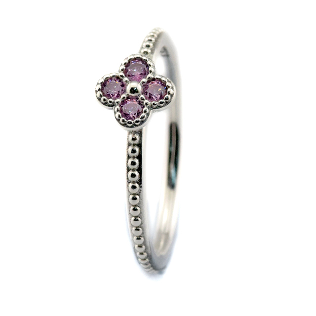 95a838e63 925 Sterling Silver Rings Women Oriental Blossom Ring with Pink CZ Silver  Rings for Women FLR091