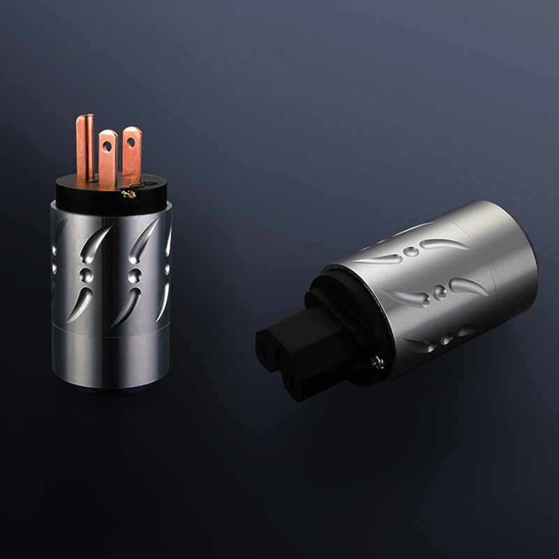 цены на Viborg X Hif Audio 1pair 20MM Hifi audio pure copper Aluminium Alloy power cable connector US version power plug