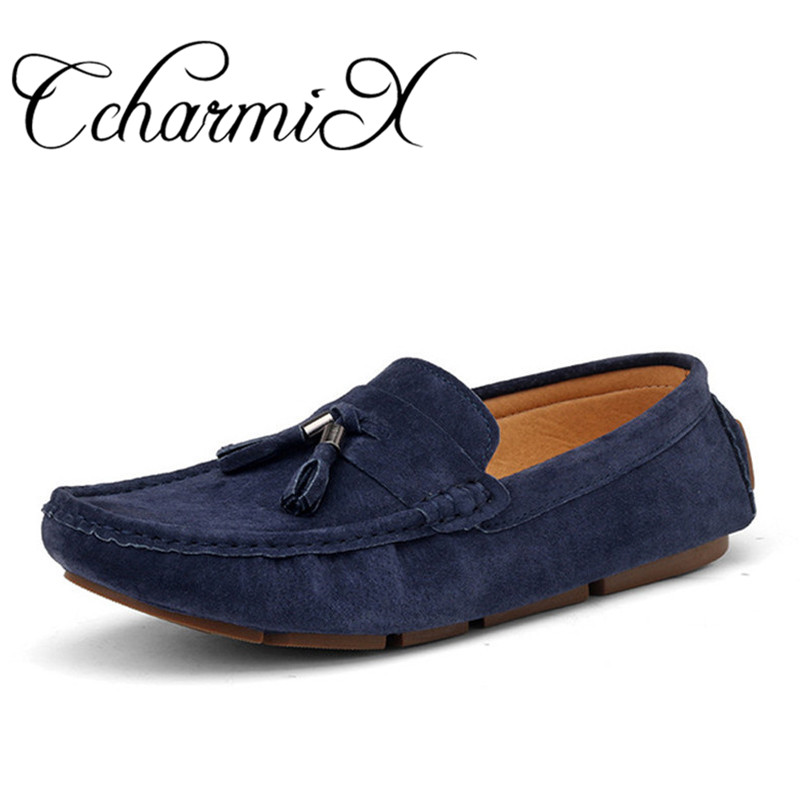 CcharmiX Plus Size 45 Mens Casual Shoes Tassel Style Suede Leather Loafers Slip On Men Moccasins Man Fashion Loafers Boat Shoes pink suede mens shoes newest style fashion men tassel loafers plus size men s smoking shoes summer men party and prom shoes