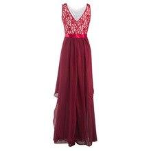 Women's Retro Floral Lace Slim Chiffon Maxi Dress Vintage Elegant Long Evening Party Dresses