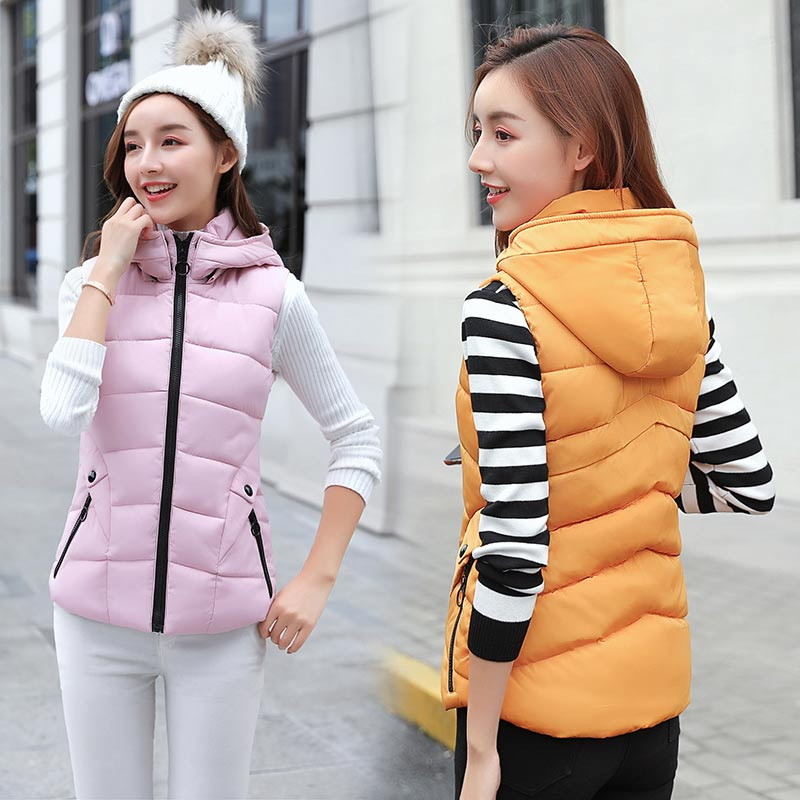 Woman Fashion collar cotton vest 2018 autumn and winter new women printed down cotton vest Waistcoat