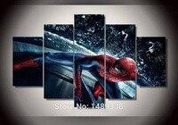 Рамку 5 Панель домашнее украшение Стены Книги по искусству Человек-паук картина маслом на холсте с текстурой абстрактные Картины Фотографи...