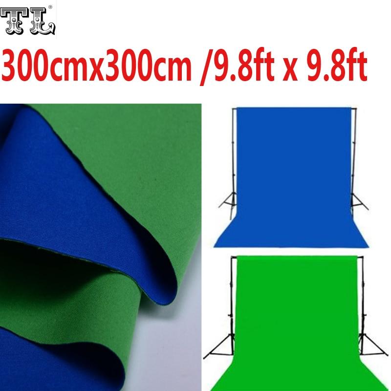 3x3 M Double 2 Visage Tissu 9.8ft x 9.8ft Fond Vert et Bleu Noir et Blanc Coton Chroma clé Muslin Contextes D'écran matériel