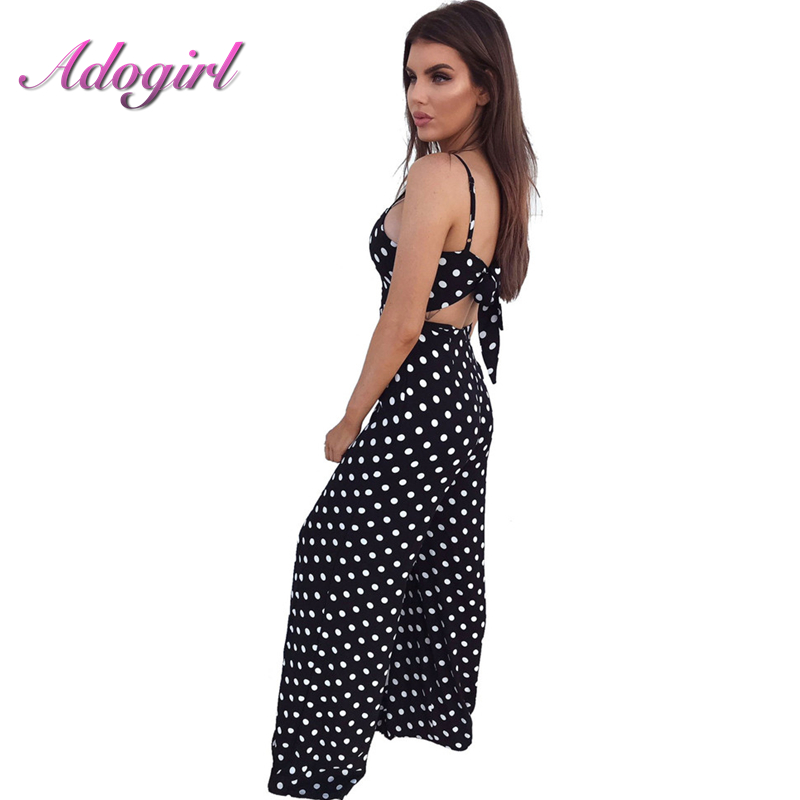 Woman Spaghetti Strap Sexy Jumpsuit Summer Backless Lace Up Bow Empire Lady Black White Dot Splice Long Wide Leg Overalls