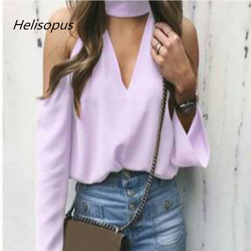 9b9bf03b8387a6 Helisopus Fashion Summer Women Tops and Blouses Deep V Neck Cold Shoulder  Blouse red white purple color Long Sleeve Shirt-in Blouses   Shirts from  Women s ...