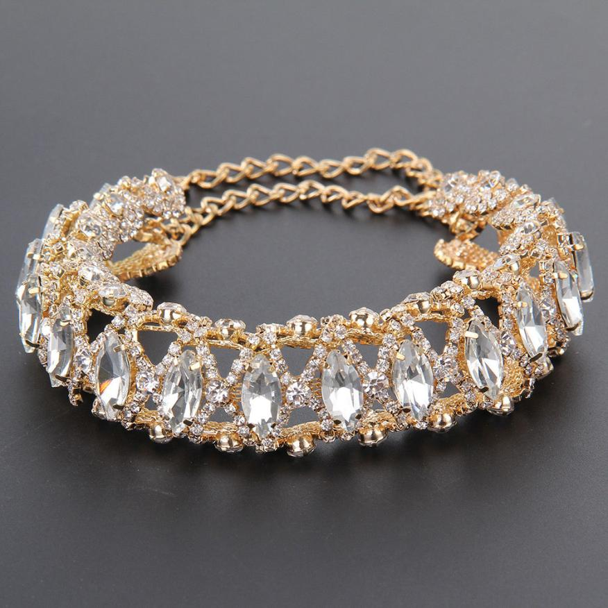 2017 New Fashion Women Noble Stylish Full Crystal Rhinestone Choker Collar Necklace Jewelry Delicate
