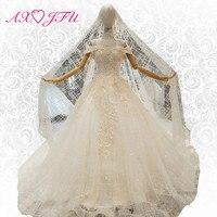 AXJFU Luxury princess lace beading wedding dress include veil boat neck sparkly illusion wedding dress 100% real photo 367444