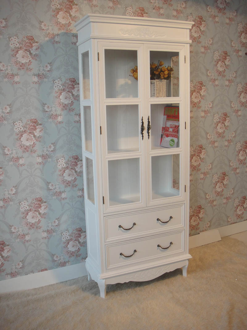 European-style garden white wood bookcase carved d.