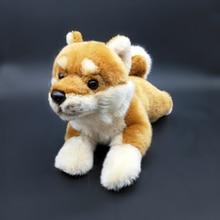 Lifelike Huggable Lying Ver. Japāņu Shiba Inu Plīša rotaļlietas Real Life Yellow Dog pildītas rotaļlietas bērnu dzimšanas dienas dāvanām
