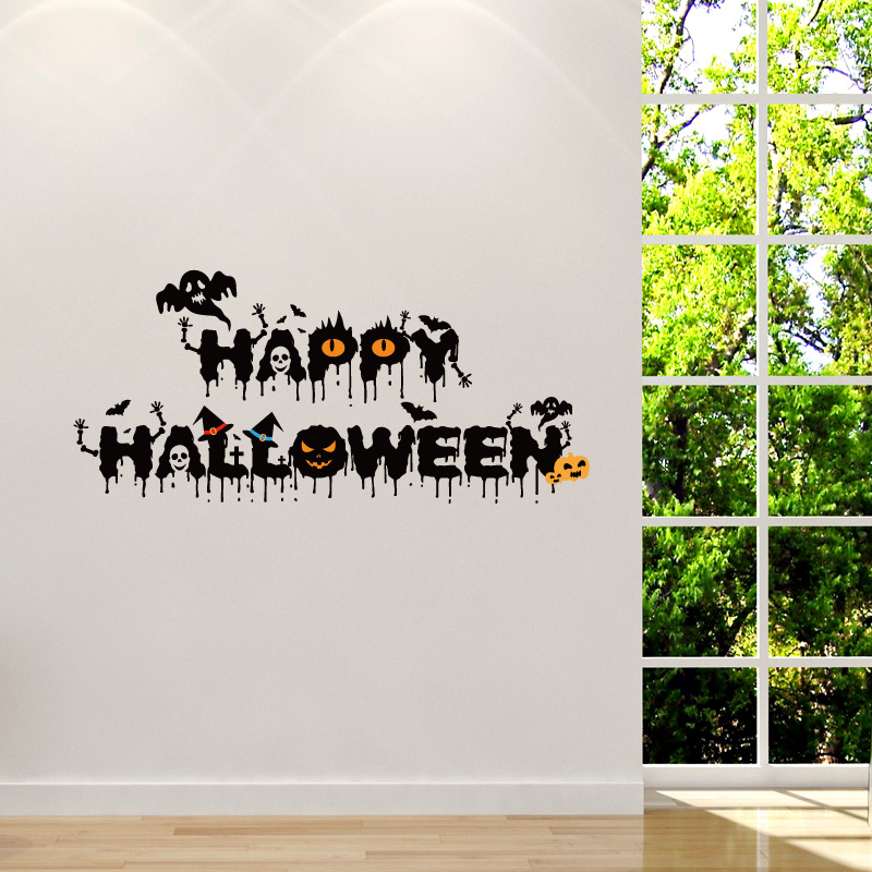 9242cm funny happy halloween wall sticker letter phrase decal vinyl mural removable waterproof home