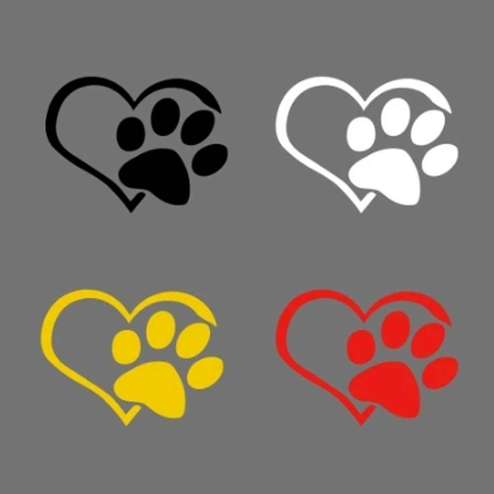 New Dog Heart Shape Pattern Paws Car Sticker Footprint Reflective Auto Waterproof Sun Resistant Window Sheeting 3D Decal