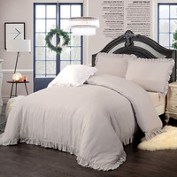 100%LINEN Washed Bedding Set with matched Flouncing 1 duvet cover 2 pillow sham