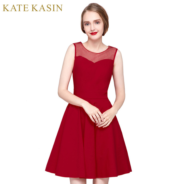 3c12af12c282 Kate Kasin Women Luxury Vintage Retro Dresses Rockabilly Dresses Vestido 50s  60s Pleated Swing Summer Evening