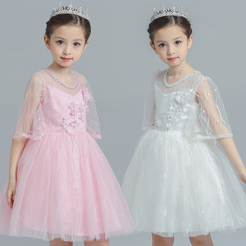 Spring Autumn New Mesh Flower Dress for Girl Petal Floral Pattern Half Sleeve Princess Elegant Dress for Pageant Wedding Party e bound e bound eb002ebhpu60
