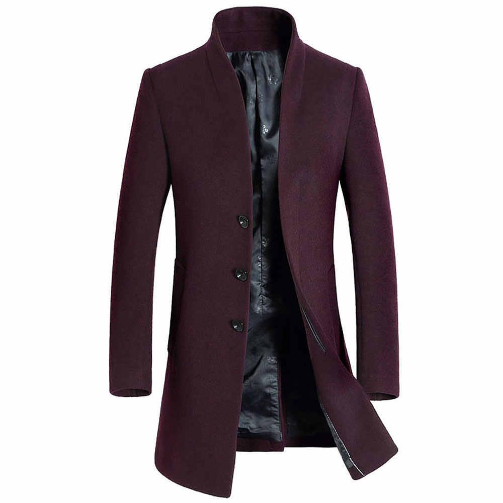 50% מעילי צמר באיכות גבוהה גברים עסקי מזדמן חורף סתיו יחיד חזה הארוך טרנץ מעיל רוח של הגברים אנגליה סגנון