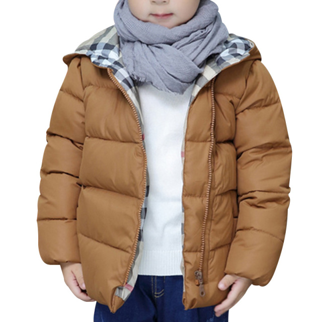 2016 Autumn Winter Down Jacket Girls Boys Zipper Hooded Coat Fashion Thickening White Duck Down Coat Solid Color Kids Parka