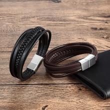 men's fashion stainless steel leather bracelet punk black brown fashion Multilayer Braid magnetic clasp gift bracelet