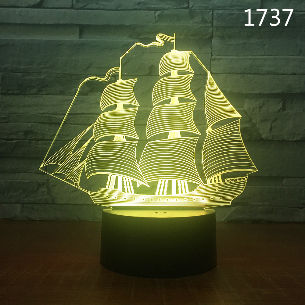 battleship ship 3D Light LED Table Lamp Illusion Night Light 7 Colors Changing Mood Lamp 3AA Battery Powered USB Lamp in Night Lights from Lights Lighting