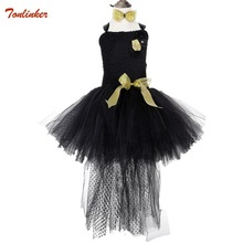 Black Girls Tutu Dress Tulle Elegant Princess Girl Evening Birthday Party Dresses Kids Ball Gown Halloween Costume