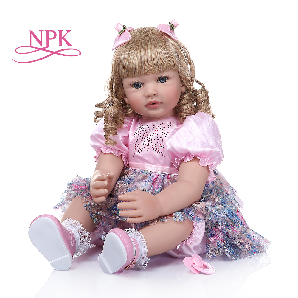60 см младенец получивший новую жизнь Кукла для маленьких девочек с длинными вьющиеся светлые волосы куклы Brinquedos лимитированная коллекция подарок на день рождения Куклы      АлиЭкспресс