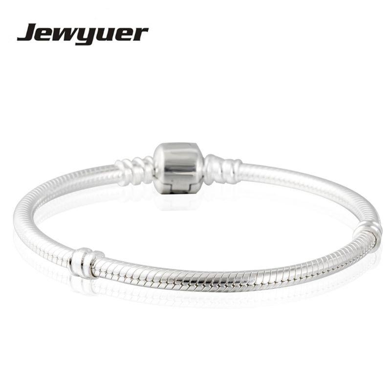 Genuine Solid Sterling Silver Snake Clasp Charm Bracelet UK